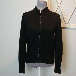 Jones New York black sweater jacket zip PM